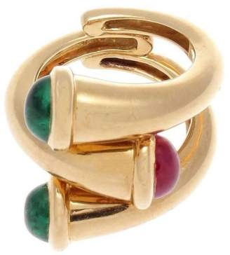 18K Yellow Gold, Emerald & Ruby Ring Size 7