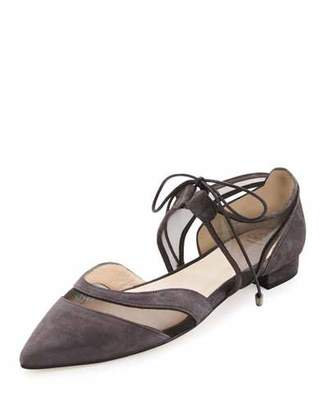 Andre Assous Maddie Pointed-Toe Lace-Up Ballerina Flat, Gray $225 thestylecure.com