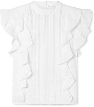 Veronica Beard Sol Lace-paneled Ruffled Cotton-jacquard Top - White