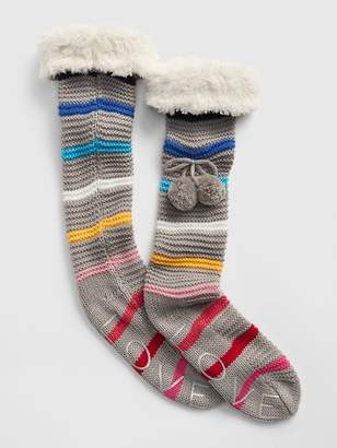 Gap Pom-Pom Slipper Socks with Faux-Fur Cuff