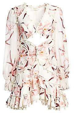 Zimmermann Women's Corsage Linen Orchid Bauble Mini Dress