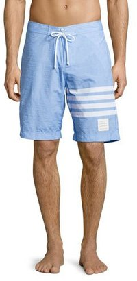 Thom Browne 4-Bar Striped Board Shorts $650 thestylecure.com