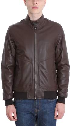 Ermenegildo Zegna Brown Leather Jacket