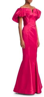 Zac Posen Off-The-Shoulder Flounce Sleeve Gown