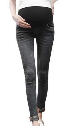 FEOYA Pregnant Women Skinny Jeans Comfy Maternity Pants for Women Dark Blue L