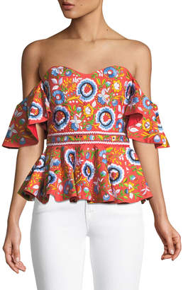 Caroline Constas Irene Off-the-Shoulder Peplum Bustier Top