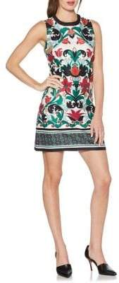Laundry by Shelli Segal Bead-Embellished Printed Shift Dress