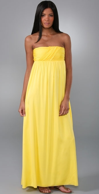 Alice + Olivia Dylan Draped Bodice Long Dress