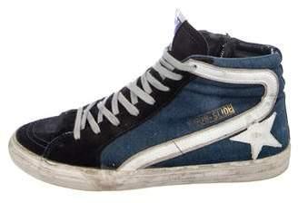Golden Goose Denim High-Top Sneakers