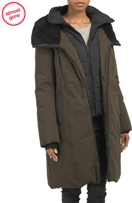 Ladies Down Coat With Sherpa Lined Hood