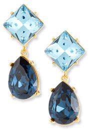 Kenneth Jay Lane Crystal Square & Teardrop Clip-On Earrings, Blue