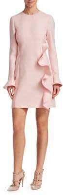 Valentino Ruffled Wool& Silk Sheath Dress