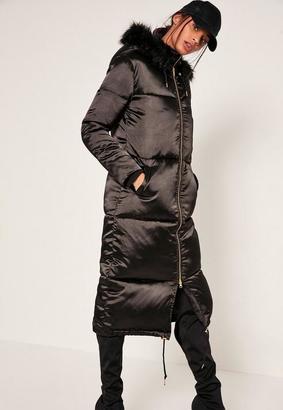 Petite Black Satin Longline Puffa Coat $117 thestylecure.com