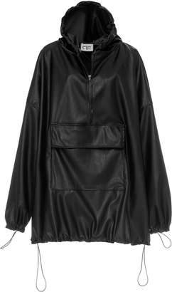 Studio Cut Hooded Faux Leather Sweatshirt