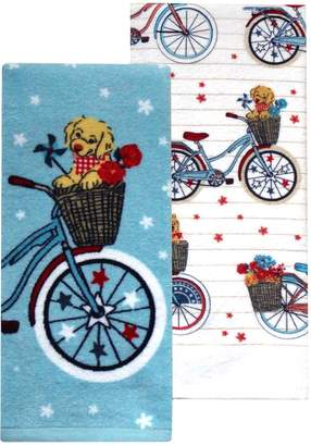 Americana Celebrate Together Puppy Bicycle Kitchen Towel 2-pack