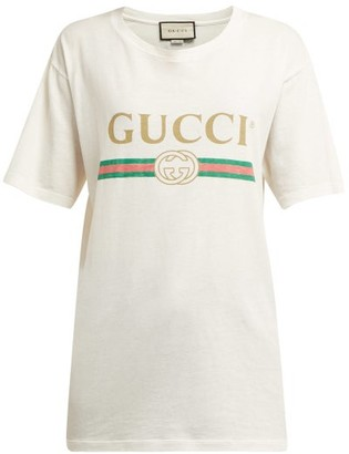 Gucci Vintage Logo Cotton Jersey T Shirt - Womens - White