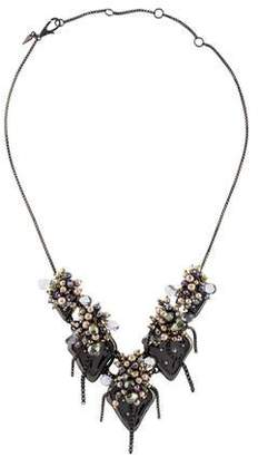Alexis Bittar Dyed Pearl Peacock Cluster Bib Necklace