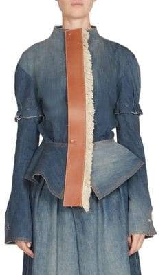 Loewe Leather Tie Denim Peplum Jacket