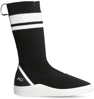 Adno Striped Knit Slip-On High Top Sneakers