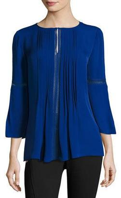 Elie Tahari Orion 3/4-Sleeve Pintucked Silk Blouse, Bluette $298 thestylecure.com