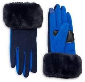 Echo Wool & Cashmere Faux-Fur Gloves