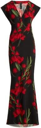 Norma Kamali Floral Print Maxi Dress - Womens - Black Print