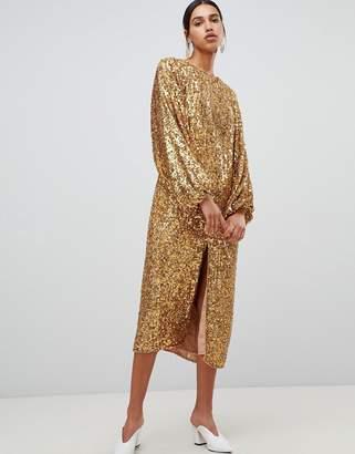 Asos Edition EDITION sequin midi dress with blouson sleeve