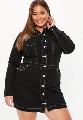 Missguided Plus Size Black Button Through Contrast Stitch Denim Dress