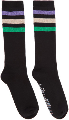 Palm Angels Black Lurex Stripes Socks $65 thestylecure.com