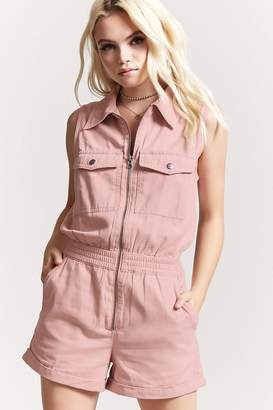 Forever 21 Twill Zip-Front Cargo Romper