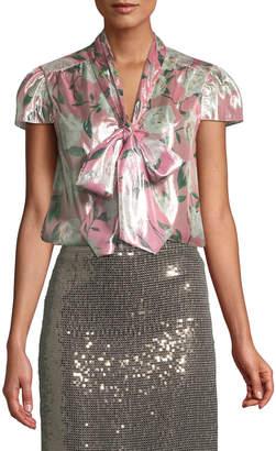 Alice + Olivia Jeannie Cap-Sleeve Floral Blouse
