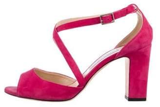 Jimmy Choo Suede High-Heel Sandals Fuchsia Suede High-Heel Sandals
