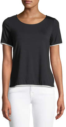 Casual Couture Zip-Back Contrast-Piped Tee