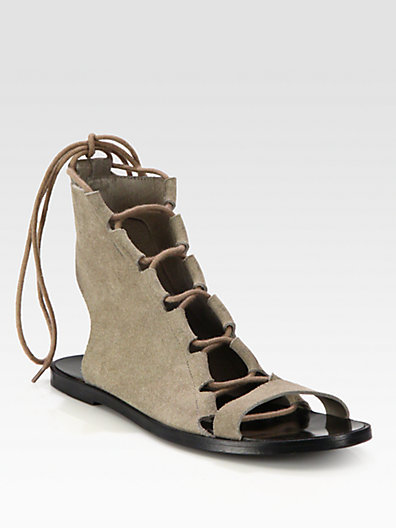Pierre Hardy Suede Lace-Up Sandals