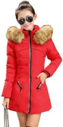 Newbestyle Women Winter Thicken Hooded Cotton Padded Parka Overcoat Long Jacket