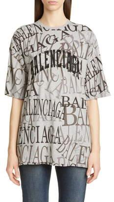 Balenciaga Logo Print Oversize Tee
