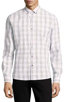 Michael Bastian Space Dye Plaid Sport Shirt