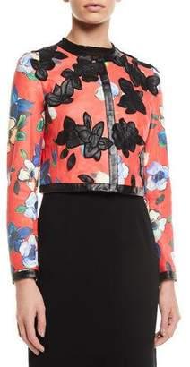 Escada Floral-Print Lamb Leather Jacket w/ Floral-Appliques