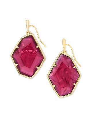 Kendra Scott Dunn Berry Illusion Gold Geometric Red Stone Drop Earrings