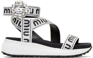Miu Miu White and Black Crystal Buckle Sandals