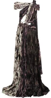Roberto Cavalli Embellished Printed Plisse Silk Gown