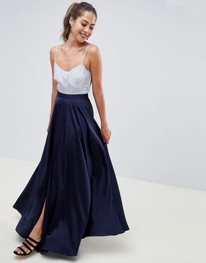 ASOS DESIGN satin maxi skirt with center front split