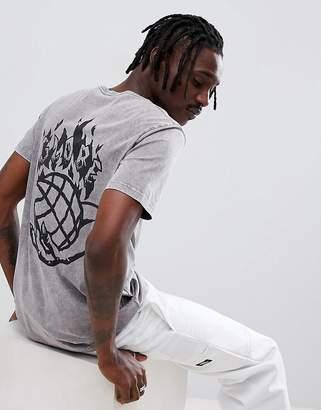 Globe Back Print T-Shirt in Washed Black
