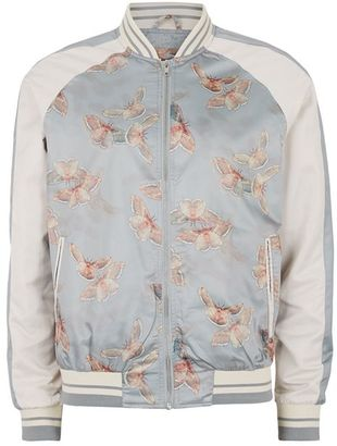 Gray and White Butterfly Print Souvenir Bomber Jacket $100 thestylecure.com