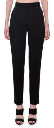 Versace High-Waist Straight-Leg Stretch-Wool Pants