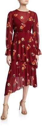 Astr Mona Floral-Print Chiffon Midi Dress