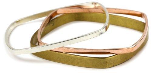 Bing Bang Mixed Metal Square Bangle Bracelets, Set of 3