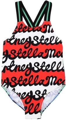 Stella McCartney Striped Logo Lycra One Piece Swimsuit