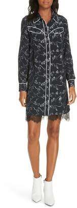 Tanya Taylor Zodiac Print Silk Shirtdress