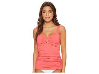 Tommy Bahama Pearl Over-The-Shoulder Shirred Tankini Women's Swimwear